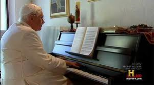 pope Benedict playing the piano