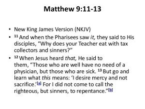 Matthew 9 11 13