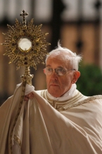 Pope Francis holds a monstrance during the observance of the feast of Corpus Christi at the Basilica of St. Mary Major in Rome May 30. (CNS photo/Paul Haring) (May 30, 2013) See POPE-CORPUSCHRISTI May 30, 2013.