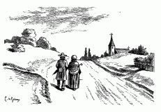 couple-walking-up-country-road-to-church-in-distance-going-to-the-chapel-pen-ink-drawing